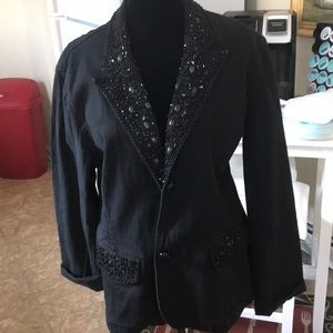 Diane Gilman black denim blazer